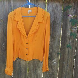 Marigold Button Up Ruffled Blouse
